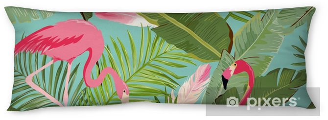 Tropical Seamless Vector Flamingo and Floral Summer Pattern. For Wallpapers, Backgrounds, Textures, Textile, Cards. Body Pillow - Animals