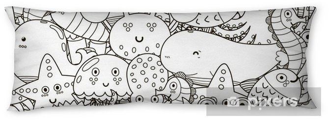 Underwater Seamless Pattern For Coloring Book Black And White Cute Sea Animals Background Vector Illustration Body Pillow Pixers We Live To Change