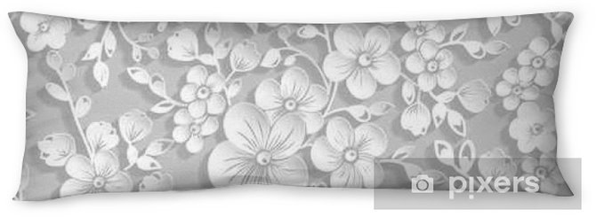 Vector grayscale sakura flower seamless pattern element. Elegant texture for backgrounds. 3D elements with shadows and highlights. Paper cut. Cherry blossom Body Pillow - Plants and Flowers