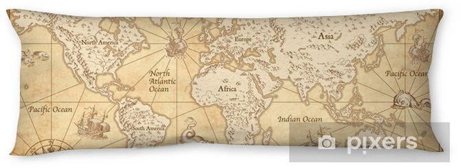 Vintage Illustrated World Map Body Pillow - Travel