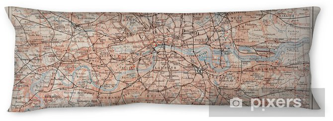 Vintage map of London and surroundings Body Pillow - Styles