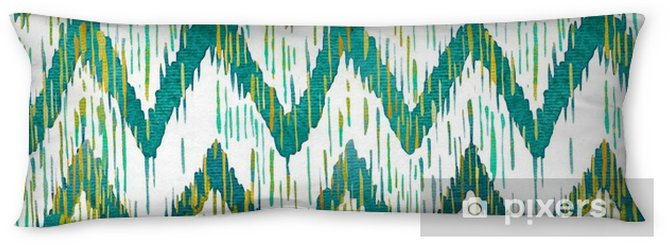 Watercolor ikat chevron seamless pattern. Green and blue watercolour . Bohemian ethnic collection. Body Pillow - Graphic Resources