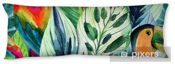 watercolor parrots and tropical leaves seamless pattern Body Pillow - Plants and Flowers