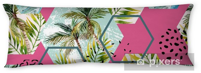 Watercolor tropical leaves and palm trees in geometric shapes seamless pattern Body Pillow - Graphic Resources