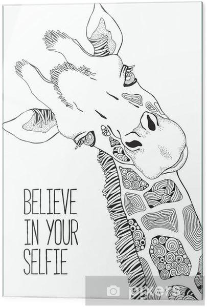 Yetişkinler Ve çocuklar Için Boyama Kitabı Sayfası Zürafa Cama