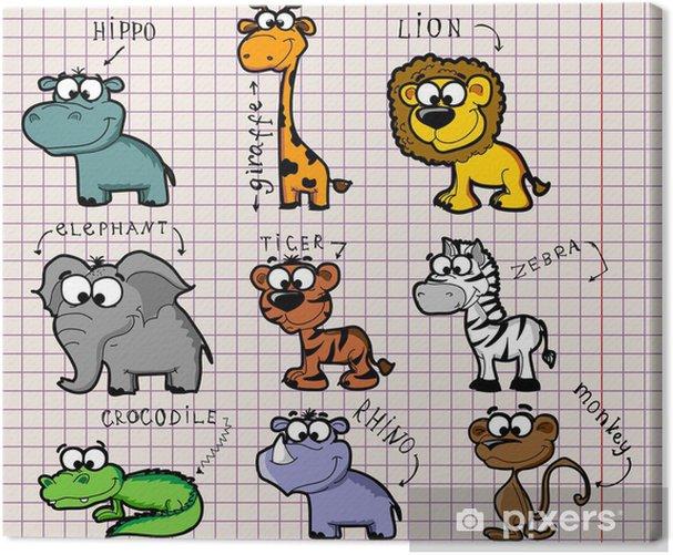 Canvas Установить мультфильм животных - Dieren
