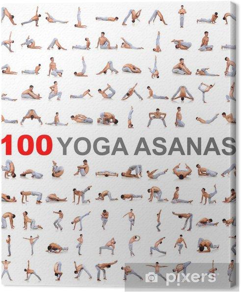 Canvas 100 yoga houdingen op een witte achtergrond - Individuele sport