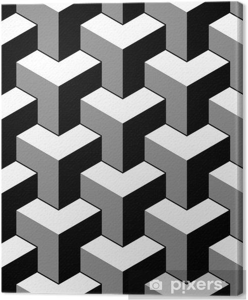 f433e2056cb61b Canvas Abstract 3d kubussen geometrisch naadloos patroon in zwart en wit,  vector