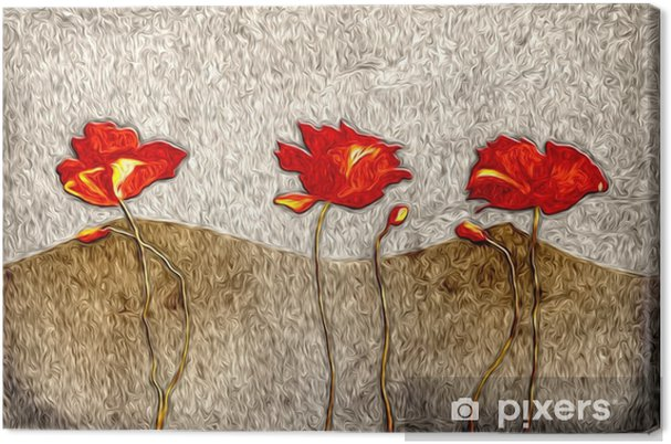 Canvas Abstract bloemolieverfschilderij - Bloemen en Planten