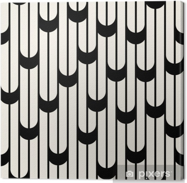 Canvas Abstract geometrisch zwart-wit minimaal grafisch ontwerplijnenpatroon - Grafische Bronnen