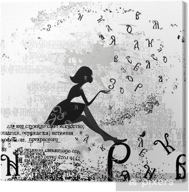 Canvas Abstract ontwerp met een meisje grunge tekst - Mode