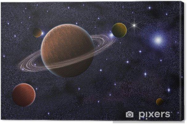 Canvas Abstract Saturnus in Galaxy Achtergrond - Sterren