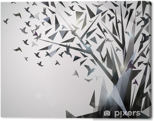 Canvas Abstracte Boom met origami vogels. - Thema's