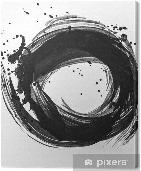 Canvas Abstracte penseelstreken en spatten van verf op wit papier. aquarel textuur voor creatieve behang of design kunstwerk, zwart en wit kleuren ... - Hobby's en Vrije tijd
