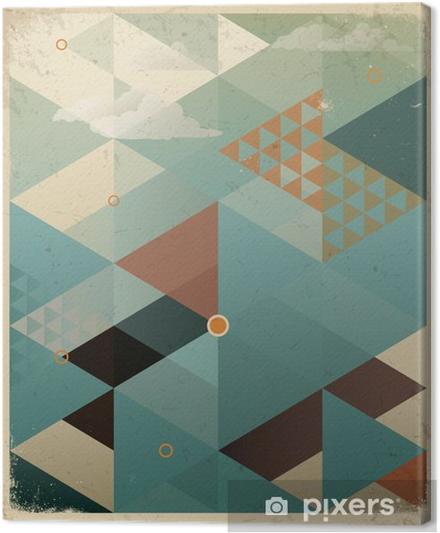 Canvas Abstracte Retro Geometrische Achtergrond met wolken -