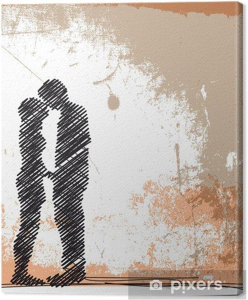 Canvas Abstracte schets van kussend koppel. vectorillustratie - Viering