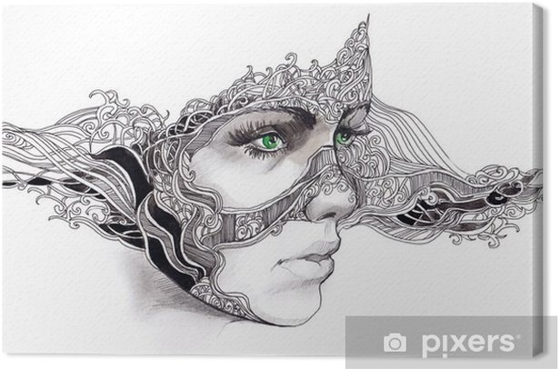 Canvas Abstracte vrouw gezicht - Welzijn