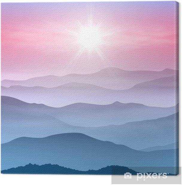Canvas Achtergrond met zon en de bergen in de mist - Bergen