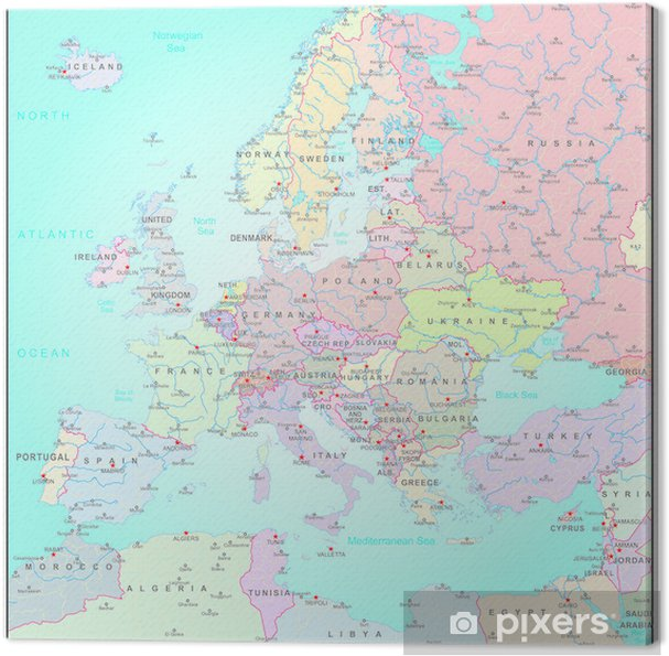 Canvas Administratieve kaart van Europa - Azië