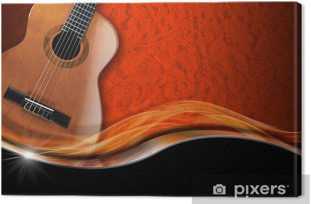 Canvas Akoestische Gitaar op Luxeachtergrond - Thema's