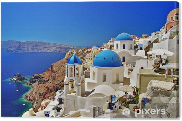 Canvas Amazing wit-blauw Santorini - Thema's