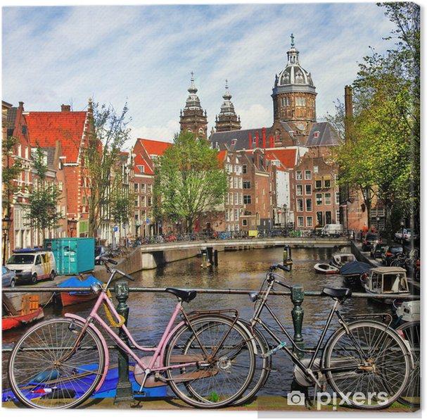 Canvas Amsterdam, grachten en fietsen - Thema's