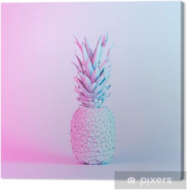 Canvas Ananas in levendige, opvallende holografische neonkleuren. concept kunst. minimale surrealistische achtergrond. - Grafische Bronnen