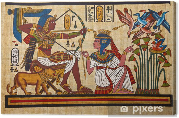 Canvas Antieke Egyptische papyrus en hiëroglief - iStaging