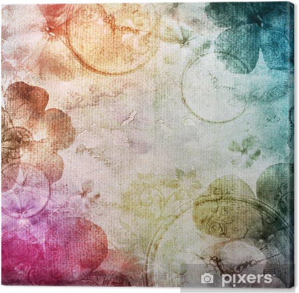 Canvas Aquarel achtergrond met bloemen - Thema's
