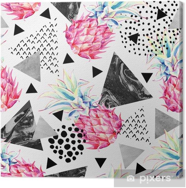 Canvas Aquarel ananas en gestructureerde driehoeken naadloze patroon. - Grafische Bronnen