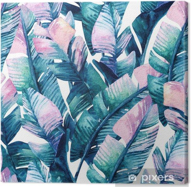 Canvas Aquarel bananenblad naadloze patroon. - Bloemen en Planten