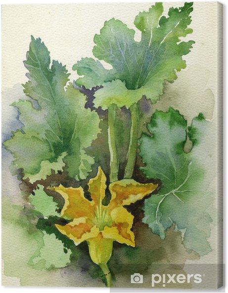 Canvas Aquarel Flora Collection: Courgette Bloem - Kunst en Creatie