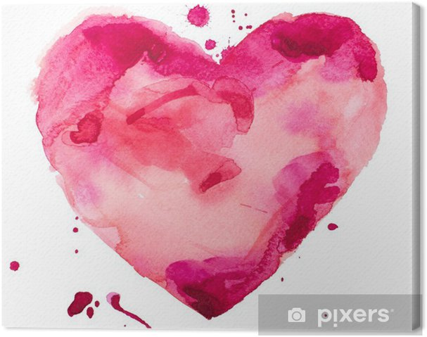 Canvas Aquarel hart. Concept - liefde, relatie, kunst, schilderen - Concept