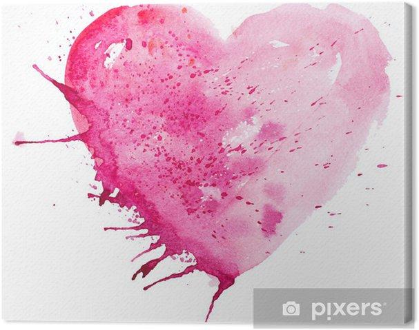 Canvas Aquarel hart. Concept - liefde, relatie, kunst, schilderen - Achtergrond