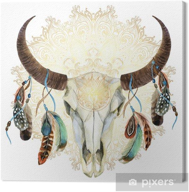 Canvas Aquarel koe schedel met veren - Dieren