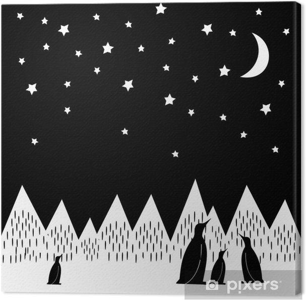 Canvas Arctic nacht vector illustratie met pinguïns familie, geometrisch besneeuwde bergen, de maan en de sterren. Zwart-witte Druk van de Natuur. Leuke bergen landschap achtergrond. - Landschappen