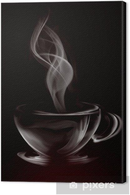 Canvas Artistieke Illustratie Rook Kopje Koffie op zwart -