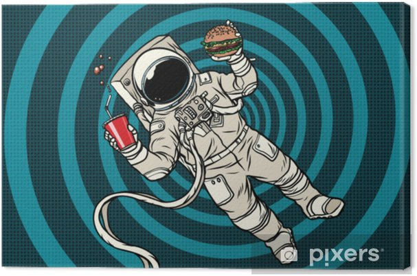 Canvas Astronaut in zero gravity met fast food - Eten
