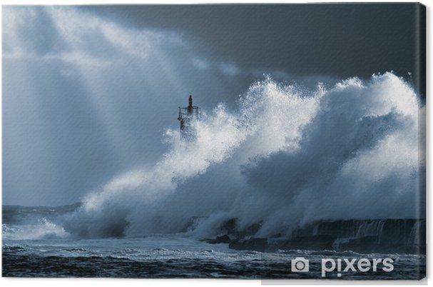 Canvas Atlantische storm - Vuurtoren