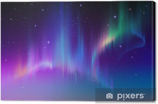 Canvas Aurora Borealis in sterrenhemel polaire lucht, illustratie -