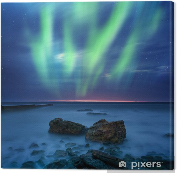 Canvas Aurora borealis over de zee - Thema's