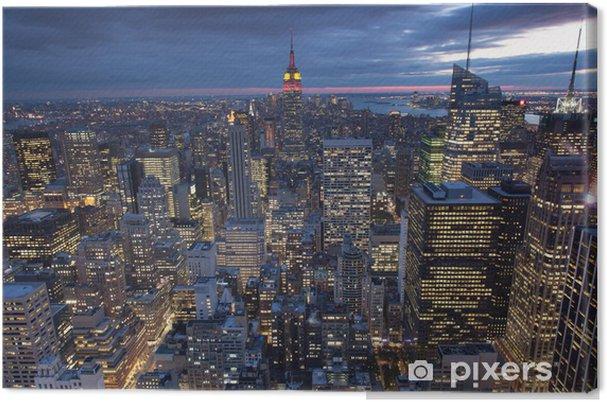Canvas Avond uitzicht van New York City, Verenigde Staten -