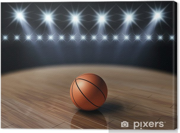 Canvas Bal op basketbalveld, basketbal arena - Basketbal