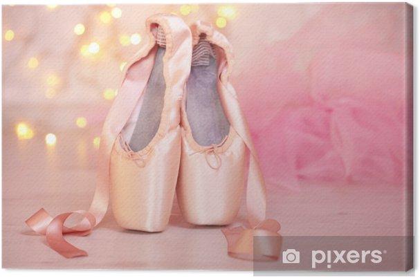 Canvas Ballet pointe schoenen op de vloer op de achtergrond bokeh - Andere objecten