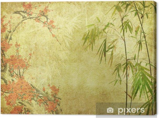 Canvas Bamboe en pruim bloesem op oude antieke papier textuur - Stijlen
