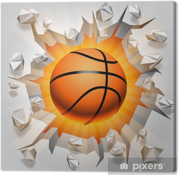 Canvas Basketbal bal en gebarsten muur. - Basketbal