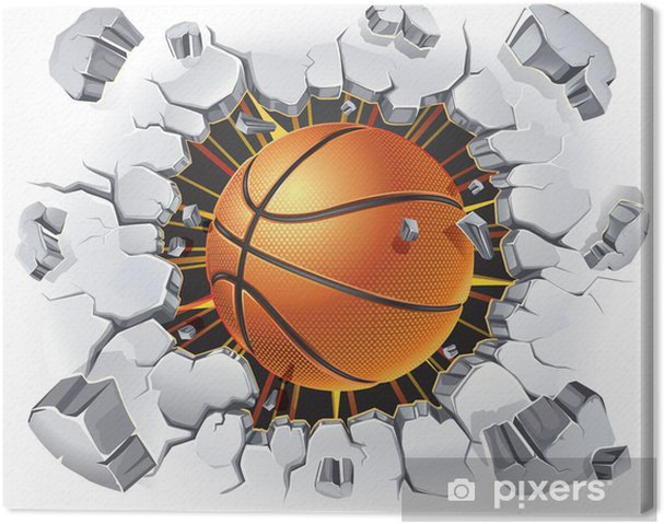 Canvas Basketbal en oude gips muur schade. Vector illustratie - Basketbal