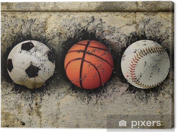 Canvas Basketbal, honkbal en voetbal - Basketbal