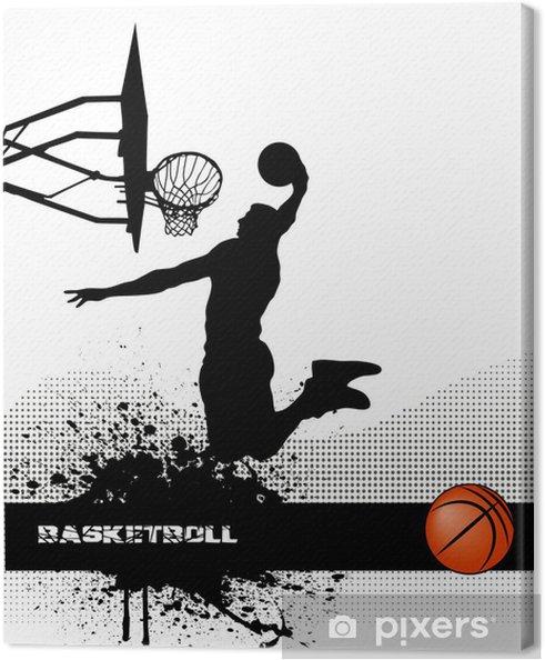 Canvas Basketbal wedstrijd op grunge achtergrond - Basketbal