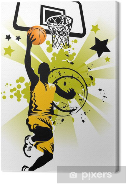 Canvas Basketbalspeler in geel - Basketbal